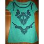 Siberian Blusa Verde Aplicações Em Azul Tamanho P Camiseta
