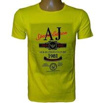 Camiseta Armani Camisa Gola Careca Amarelo Original
