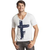 Camiseta Manga Curta Decote V Branca-caveira - Tam M