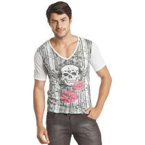 Camiseta Masculina Manga Curta Decote V Branca - Tam M