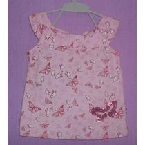 Camiseta Bata Infantil Rosa Bordada Lantejoulas Menina