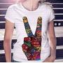 Camiseta Pronta Entrega Feminina Peace And Love Not War