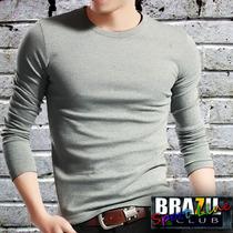 Camiseta Manga Longa Cinza Mesclada - Especial 100% Algodão