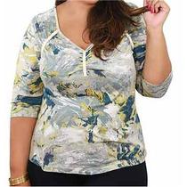 Blusa Estampada Com Galão Aplicado Exg G4 Plus Size 54 56 58