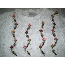 Blusa Trico Trabalhada Motivos Florais.tamanho M