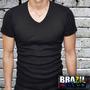 Camiseta Babylook Gola V - 100% Algodão - Várias Cores