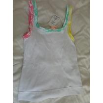 Camiseta Regata P Branca Canelada Com Cores (colorida)