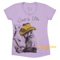 Camiseta Baby Look Feminina Lilás 100% Algodão - Abqm 13070