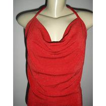 Blusa Modelo Frente Unica Vermelha Com Brilho - Tam ( M )