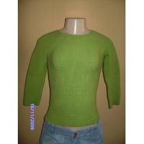 Bh039 - Brecho Blusa Verde Malha Trico Tamanho Único