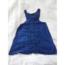 Blusa Azul Bic Espaco Fashion M Com Crepe De Seda Um Uso