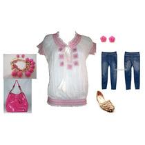 Blusa Tunica Bata Algodão Branca C/ Rosa Pink