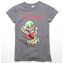 Ed Hardy Camiseta Feminina Original Com Etiqueta Tamanho Pp