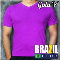 Camisetas Gola V 100% Algodão - Mais De 20 Cores Disponíveis