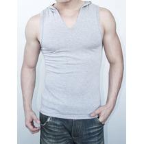 Camiseta Regata Gola V Com Capuz Masculina Em Viscolycra