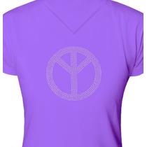 Camiseta - Estampa Simbolo De Paz Em Strass Prata - St046