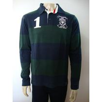 51-camiseta Beagle Masculina Polo Listrada Azul/verde Escuro
