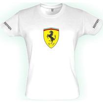 Camiseta-feminina-escudo Ferrari