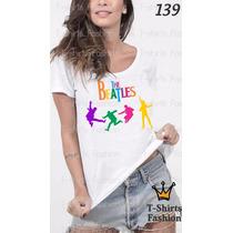 Camiseta T-shirt Beatles Fashion Feminino Blusa Baby Look