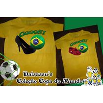 Kit Camiseta Mãe E Filha Brasil Copa 2014 - Dalsassu´s