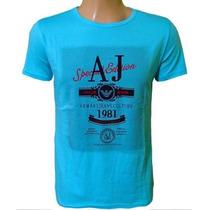 Camiseta Armani Camisa Gola Careca Azul Claro