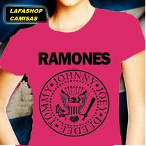 Camisa Ramones Baby Look Feminina Camiseta Banda Rosa Mulher