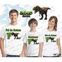 Camiseta Dinossauro Festa Aniversario Kit Com 3 Uni