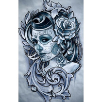 Camisetas Art Chicana - Tatoo Face Flowers Girl - Toppstamps