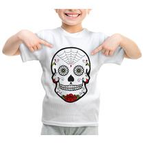 Camiseta Infantil Caveira Mexicana Mexican Skull Modelo 336