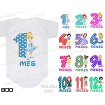Kit 12 Body Infantil Borie Mês A Mês Mesversario Princesa