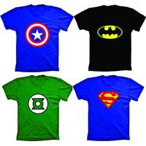 Camisetas Super Herois Batman,super Man,hulk Capitão América