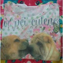 Camiseta Feminina Com Estampa De Cachorros Semi Nova