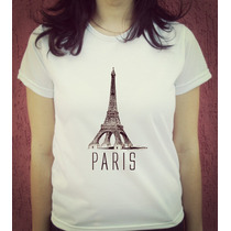 Babylook Camiseta Estampada Torre Eiffel Paris
