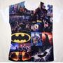 Camiseta Batman Estampada Só Na Frente Modelo Baby Look