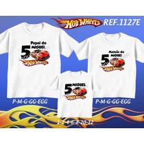 Kit Camisetas Tal Mãe Tal Pai Tal Filho Hot Wheels Mickey