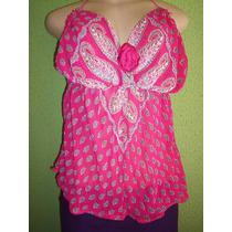 Blusa Frente Unica Crepe De Seda Estampa Floral M