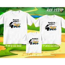 Kit Camisetas Tal Mãe Tal Pai Tal Filho Minions Angry Birds