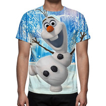 Camisa, Camiseta Frozen Olaf - Estampa Total