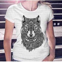 Camisa Estampa Feminina Lobo Penas E Tatuagens