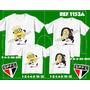 Kit Camisetas Minions São Paulinos Mãe Pai Filho Filha 4 Uni