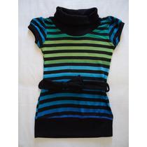 Blusa Minivesti Importado Menina Listrada Preto Azul 6 Anos