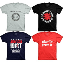 Camiseta Banda Legião Urbana Green Day Red Hot Charlie Brown