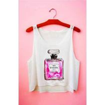 Regata Top Cropped - Moda Feminina Desenho Perfume Chanel N5