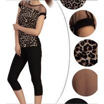 Blusa Tule Blusinha Leopardo Onça Animal Print Renda Onça