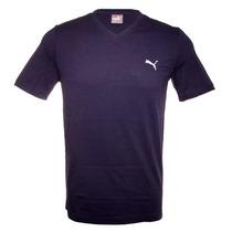 Camiseta Puma Ess V Neck Tee Azul Marinho