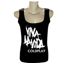 Camiseta Blusa Regata Feminina Rock Bandas Coldplay