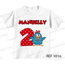 Camiseta Infantil Aniversário Personagens Galinha Pintadinha