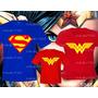Camiseta Super Pai Mãe E Filha Maravilha Super Heróis