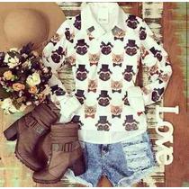 Blusa Trico Sueter Feminino Estampado Cachorros Gatinhos