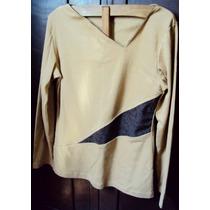 005 Rop- Roupa Blusa Camiseta Moda Atual- Bege- Malha